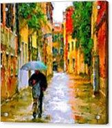 Rainy Walk In Venice Acrylic Print