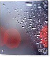 Rainy Windshield Brake Lights Acrylic Print