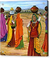 Rajasthani  Women Going Towards A Pond To Fetch Water Acrylic Print