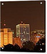 Raleigh Skyline At Night Acrylic Print