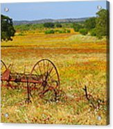 Ranch And Wildflowers And Old Implement 2am-110547 Acrylic Print