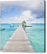 Rangiroa Atoll Pier On The Ocean Acrylic Print
