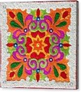 Rangoli Made With Coloured Sand Acrylic Print