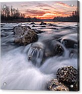 Rapids On Sunset Acrylic Print by Davorin Mance