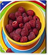 Raspberries In Yellow Bowl On Plate Acrylic Print