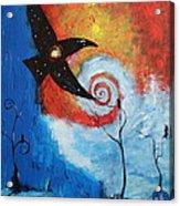 Raven In The Swirl Acrylic Print