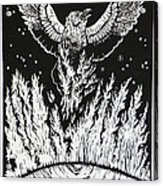 Raven Stealing Fire From The Sun - Woodcut Illustration For Corvidae Acrylic Print