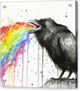 Raven Tastes The Rainbow Acrylic Print