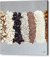 Raw Nuts, Dried Fruit And Grains Acrylic Print