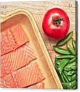Raw Salmon Acrylic Print by Tom Gowanlock