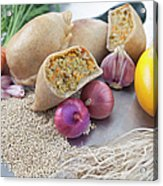 Raw Vegetables With Cooked Pastries Acrylic Print