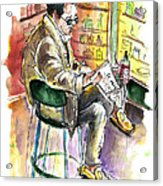 Reading El Pais And Drinking Rioja In Spain Acrylic Print