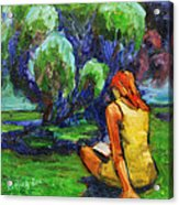 Reading In A Park Acrylic Print