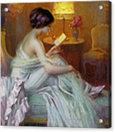 Reading In Lamp Light Acrylic Print