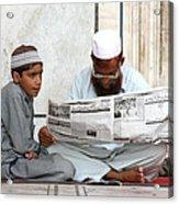 Reading In New Delhi Acrylic Print