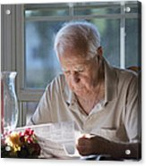 Reading The Sunday News Paper Acrylic Print