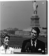 Reagan Speaking Before The Statue Of Liberty Acrylic Print