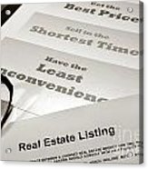 Real Estate Listing Presentation  Acrylic Print