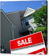 Real Estate Sold Sign And Townhouse Acrylic Print by Olivier Le Queinec
