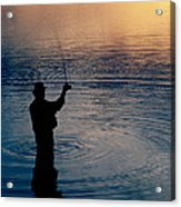 Rear View Of Fly-fisherman Silhouetted Acrylic Print
