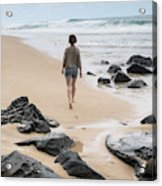 Rear View Of Woman Walking On Beach Acrylic Print