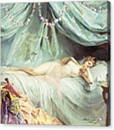 Reclining Nude In An Elegant Interior Acrylic Print by Madeleine Lemaire