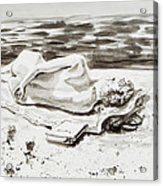 Reclining Nude Study Resting At The Beach Acrylic Print