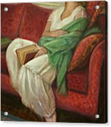 Reclining With Book Acrylic Print