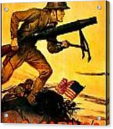 Recruiting Poster - Ww1 - Marines Over The Top Acrylic Print