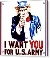 Recruiting Poster - Ww1 - I Want You Acrylic Print