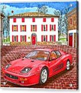 Enzo Ferrari S Garage With 1995 Ferrari 512m Acrylic Print