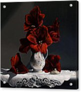 Red Amaryllis  Acrylic Print by Larry Preston