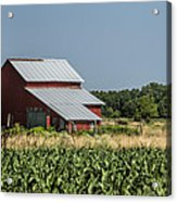 Red Amish Barn And Corn Fields Acrylic Print