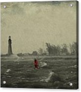 Red Among The Waves Acrylic Print