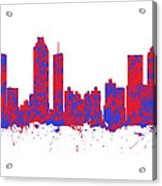 Red And Blue Art Print Of The Skyline Of Atlanta Georgia Usa Acrylic Print