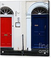 Red And Blue Doors Acrylic Print