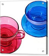 Red And Blue Teacups. Acrylic Print by Alexandr  Malyshev
