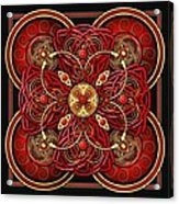 Red And Gold Celtic Cross Acrylic Print