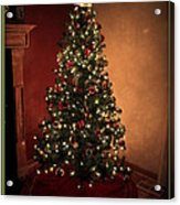 Red And Gold Christmas Tree With Caption Acrylic Print