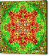 Red And Green Sun Mandala Acrylic Print