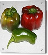 Red And Green Peppers Acrylic Print