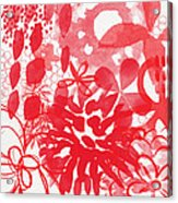 Red And White Bouquet- Abstract Floral Painting Acrylic Print