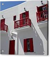 Red And White In Mykonos Acrylic Print