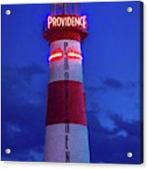 Red And White Lighthouse Shows Neon Acrylic Print