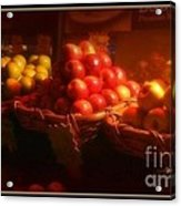Red And Yellow Apples In Baskets Acrylic Print