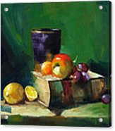 Red Apple Book And Purple Acrylic Print by Pepe Romero