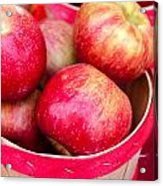 Red Apples In Baskets At Farmers Market Acrylic Print