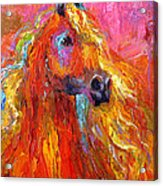 Red Arabian Horse Impressionistic Painting Acrylic Print