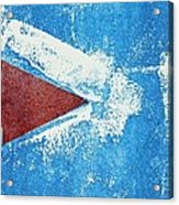 Red Arrow Painted On Blue Wall Acrylic Print