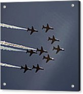 Red Arrows Flying Into The Sun Acrylic Print